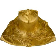 Art Nouveau Gilt Bronze Inkwell with Pine Cones by D. Alonzo