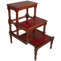 George III Mahogany Library Steps with Red Leather Treads