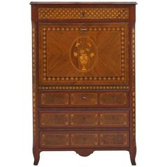 Early 19th Century Spanish Charles IV Secretary with Marquetry