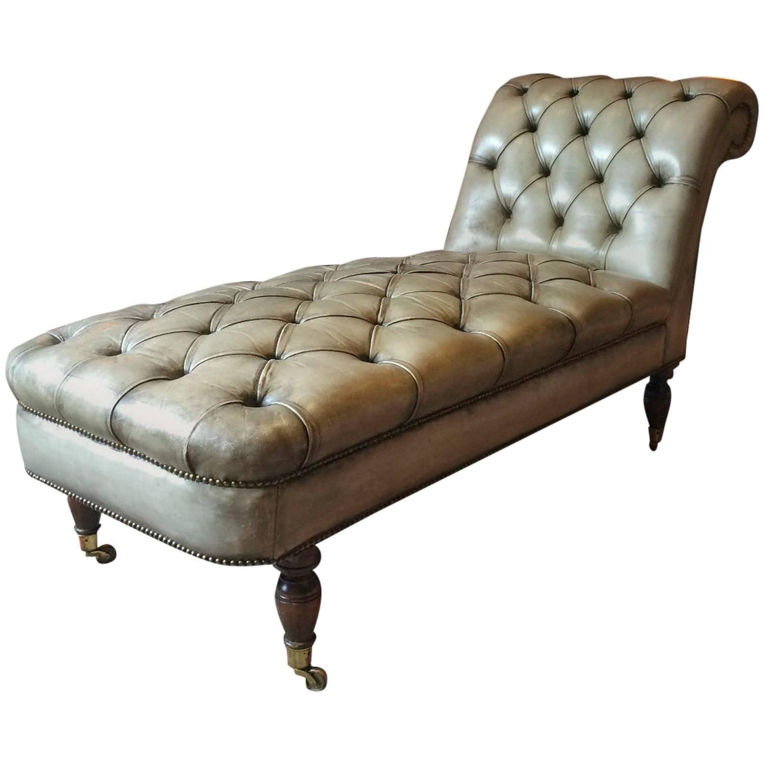 antique style chesterfield chaise longue leather button back in grey green at 1stdibs. Black Bedroom Furniture Sets. Home Design Ideas