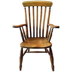 Antique Windsor Chair Elm Beech Armchair, 19th Century, Victorian