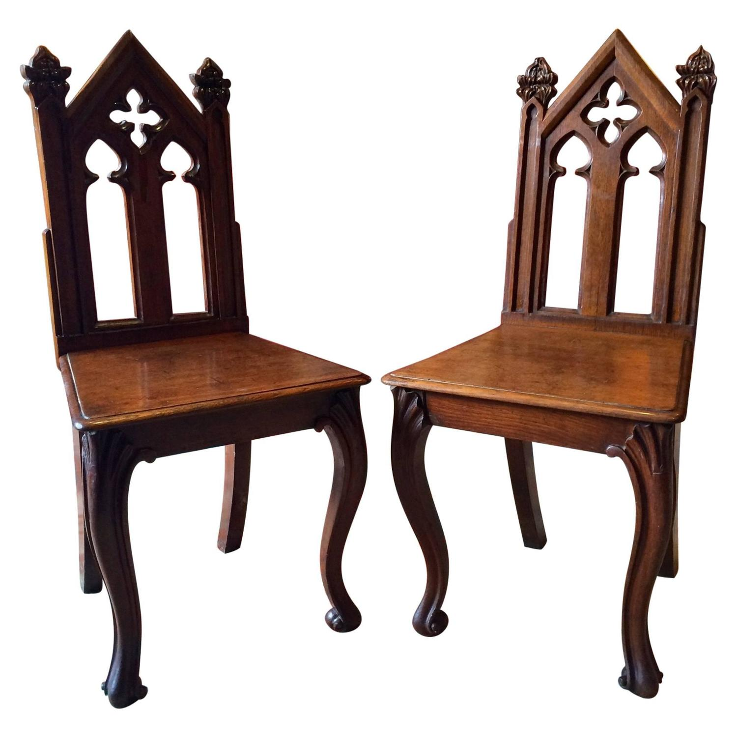 Antique pair of hall chairs victorian gothic 19th for Victorian gothic chair