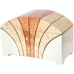 Maitland-Smith Vintage Arch Shaped Tessellated Stone Box with Brass Inlay