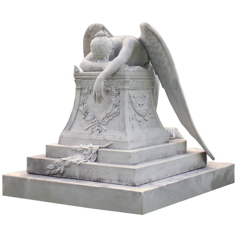 Attrayant White Carrera Marble Angel Of Grief Statue, Hand Carved Reproduction For  Sale