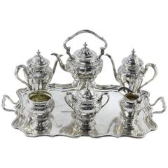 Black Starr and Frost Seven-Piece Tea Set with Herbert Lambert Tray