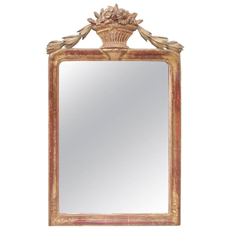Louis XVI Neoclassical Styled Hand Carved Giltwood Mirror