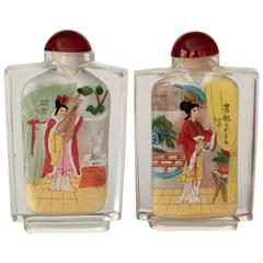 """Pair of Antique Chinese Reverse Painted Glass """"Geisha"""" Snuff Bottles"""