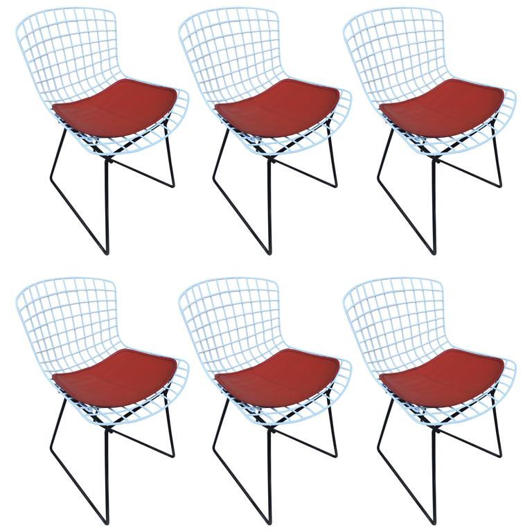 Set of Harry Bertoia Childs Chairs, Original Knoll Orange Seat Pads