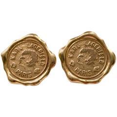 """Vintage Karl Lagerfeld Paris Gold Plate Wax Seal """"Self Portrait"""" Earrings"""