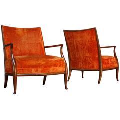 Pair of Sculptural Walnut Armchairs by T. H. Robsjohn-Gibbings