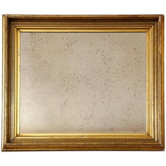 Gilded Mirror Frame with Painted Black Striped Molding and Antique Glass