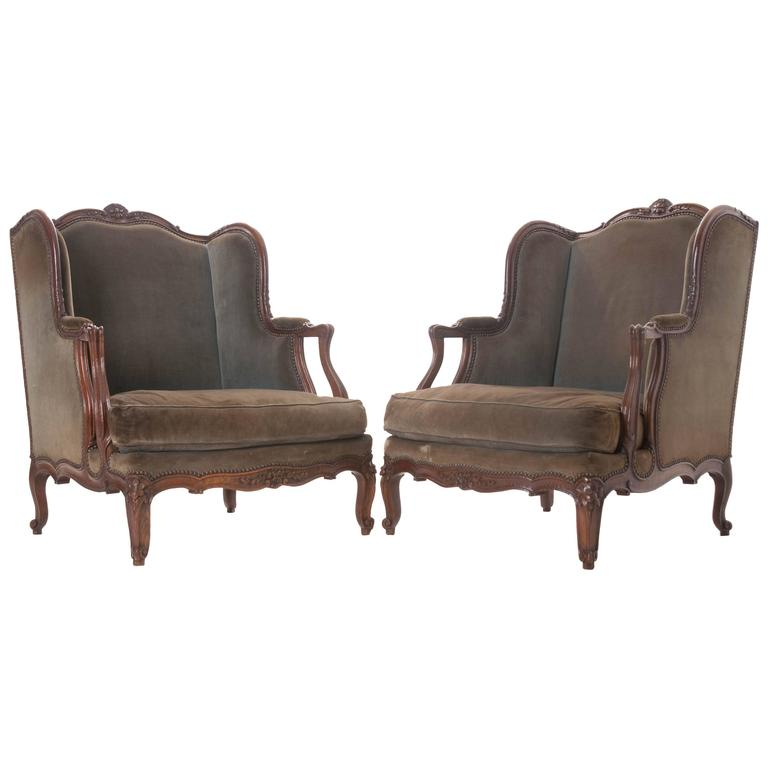 Pair of Large French 19th Century Louis XV Bergeres