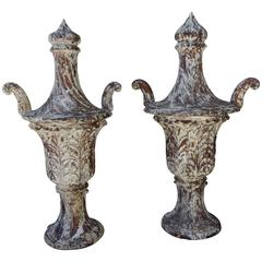 Pair of Italian Carved Flame Finial Urns