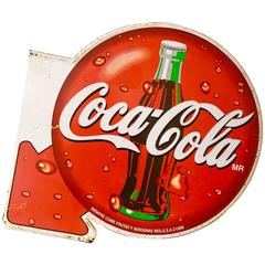 Vintage Coca - Cola Double-Sided Spanish Metal Advertising Sign-24""