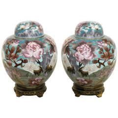 Pair of Chinese Cloisonné Urns with Red-Crowned Cranes and Peonies