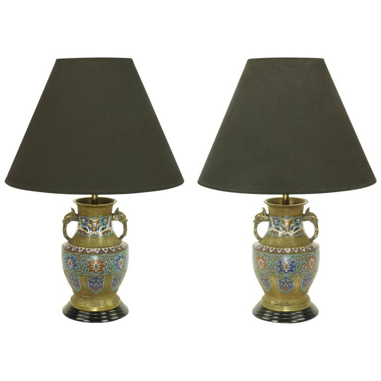 Pair of Japanese Brass Champlevé Cloisonné Urn-Form Table Lamps