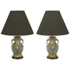 Pair of Japanese Brass Champlevé Cloisonné Urn-Form Table Lamps