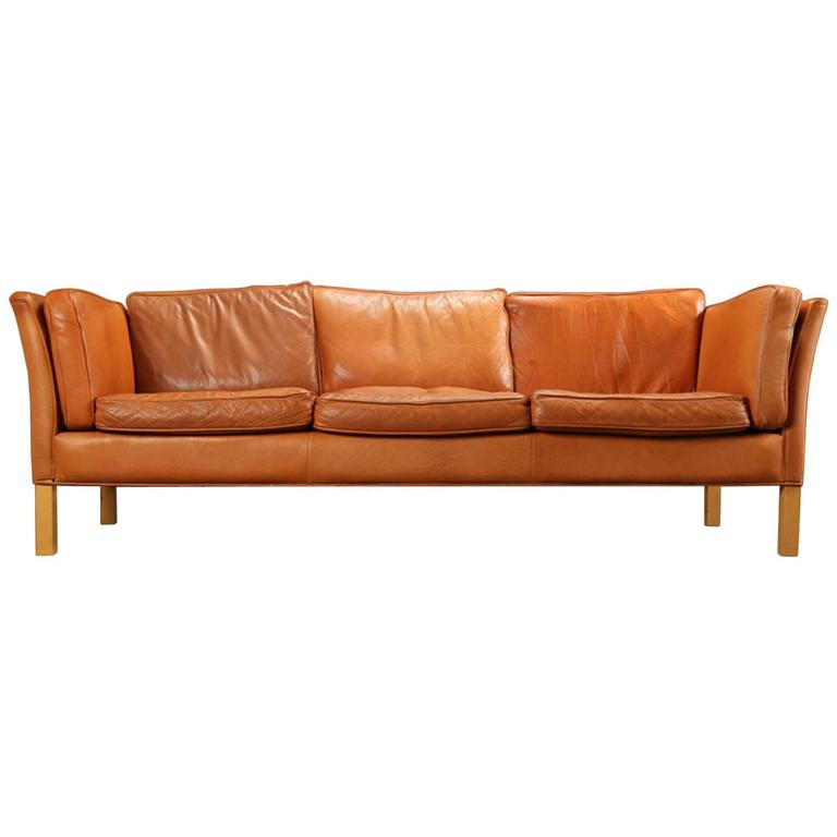 Danish 1960s-1970s Leather Sofa Upholstered Sofa 1