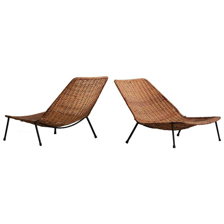 Woven Wicker Pool Chairs  For Sale