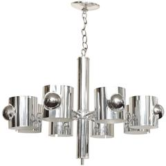 Italian Modernist Eight-Light Chrome-Plated Chandelier