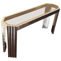 Chrome and Brass 1970s Console Table with Inset Smoked Glass Top