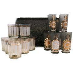 """Mid-Century Modern """"Time"""" Drink Set Glasses and Tray, Set of 16"""