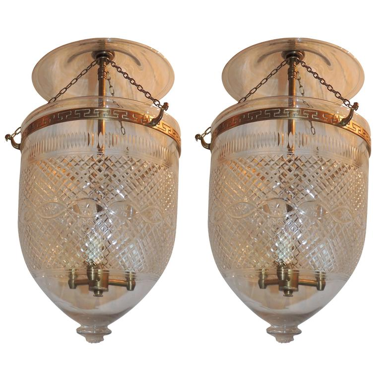 Wonderful Pair Cut Glass and Etched Diamond Crystal Bell Jar Lanterns ...
