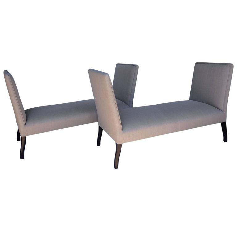 Pair of Upholstered Seats with High Sides 1