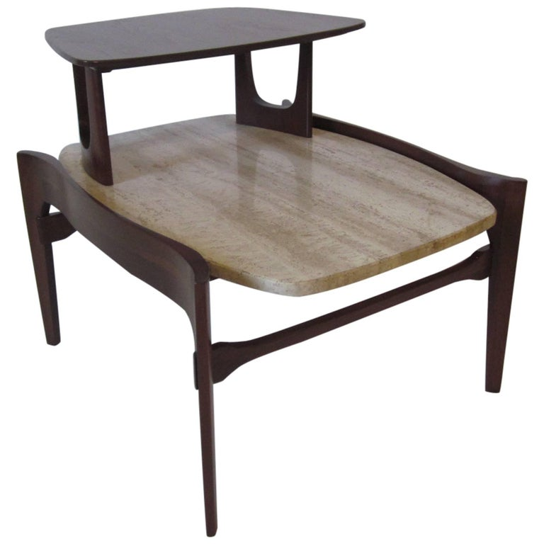 Travertine and Sculptural Walnut End / Side Table for Gordon Furniture Company For Sale