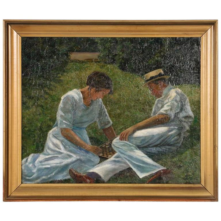 Oil on Canvas Painting of a Couple Playing Checkers, circa 1915