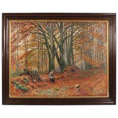 Antique Oil Painting of a Hunter at Rest, circa 1897, Signed R. Bissen