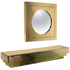 Brass and Chrome Wall-Mounted Console and Mirror by Curtis Jere