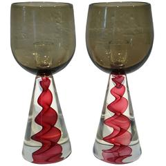 Pair of 1970s Murano Glass Candlesticks by Seguso