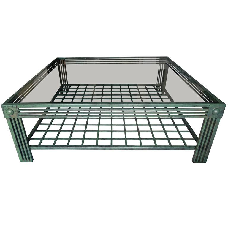 Postmodern Verdigris and Bronze Finish Spectacular Coffee Table by Steve Chase