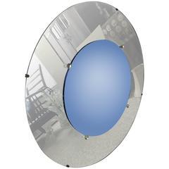 Modernist Art Deco Cobalt Blue and Clear Convex Bullseye Mirror