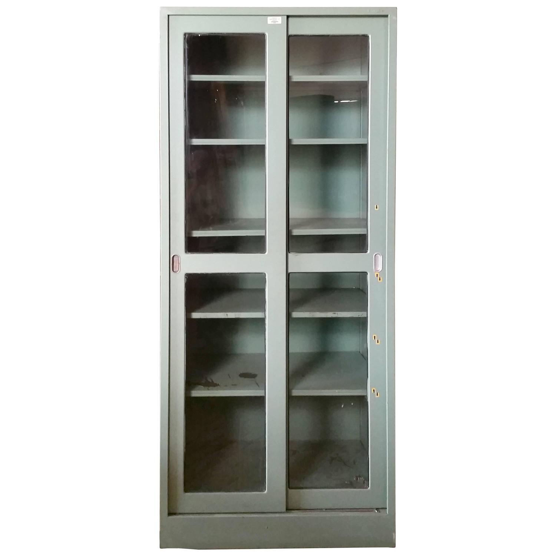 Vintage Industrial Doors For Sale : Steel medical dental lab cabinet sliding doors and