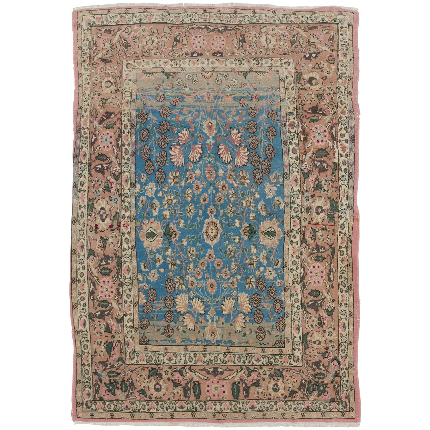 Floral Ghiordes Rug In Blue, Pink And Green Colors For