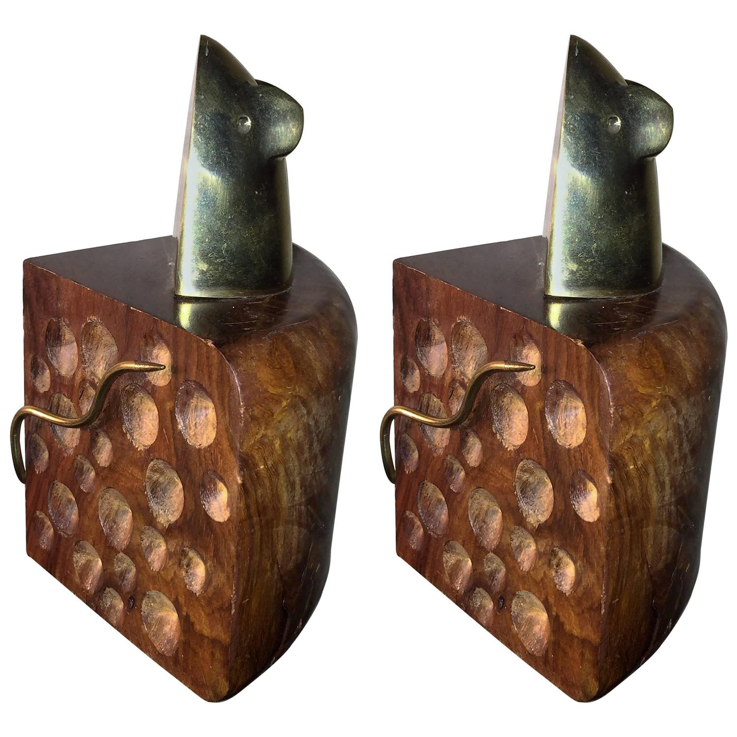 Marvelous photograph of Modernist Pair of Wood and Brass Mouse and Cheese Bookends For Sale at  with #947037 color and 1500x1500 pixels