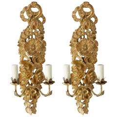 1960 Large Pair of Sconces Maison FlorArt