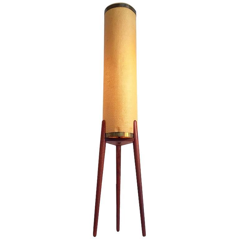 Amazing Danish Mid Century Teak Tripod Floor Lamp With Original Celluloid  Shade For Sale