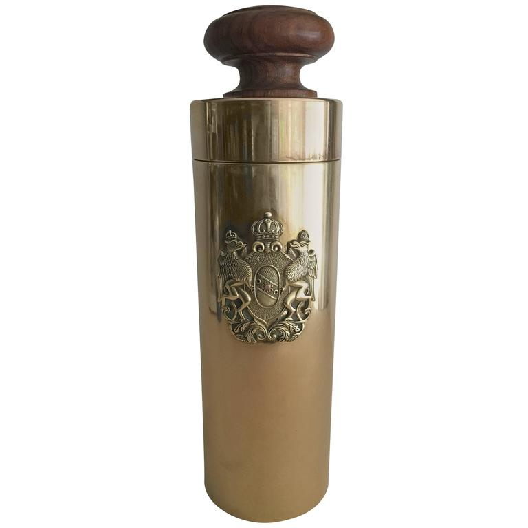 Italian Brass Canister with Crest