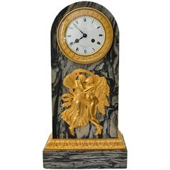 Empire Gilt Bronze and Marble Mantel Clock Signed Feuchere & Fossey and Hedou