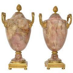 Important Pair of Louis XVI Ormolu-Mounted Pink Alabaster Urns