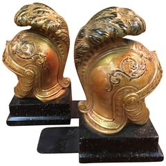 Pair of Gilt Roman Galea Bookends by Borghese