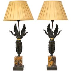 Pair of Empire Lamps, Marble and Patinated Bronze, circa 1830