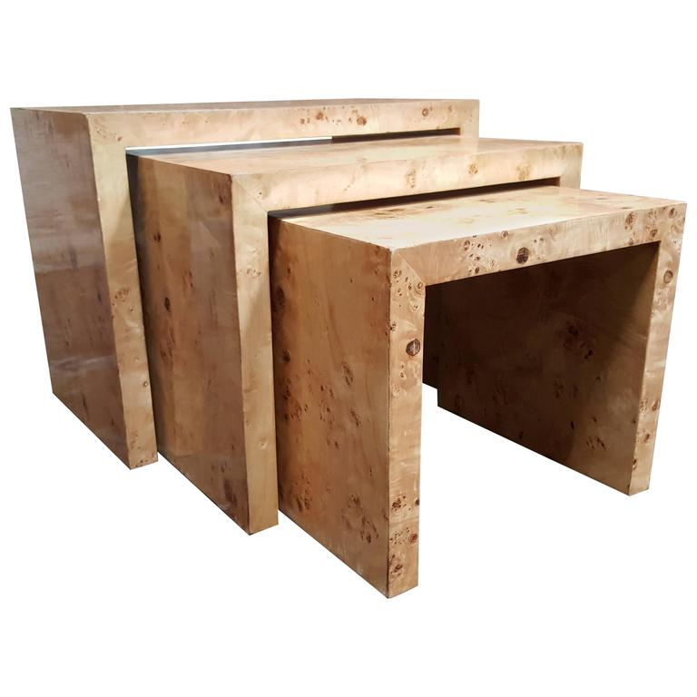 Olive wood nesting tables style of milo baughman at stdibs