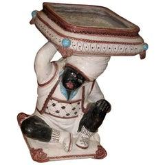 Blackamoor Italian Pottery Table/Plant Stand