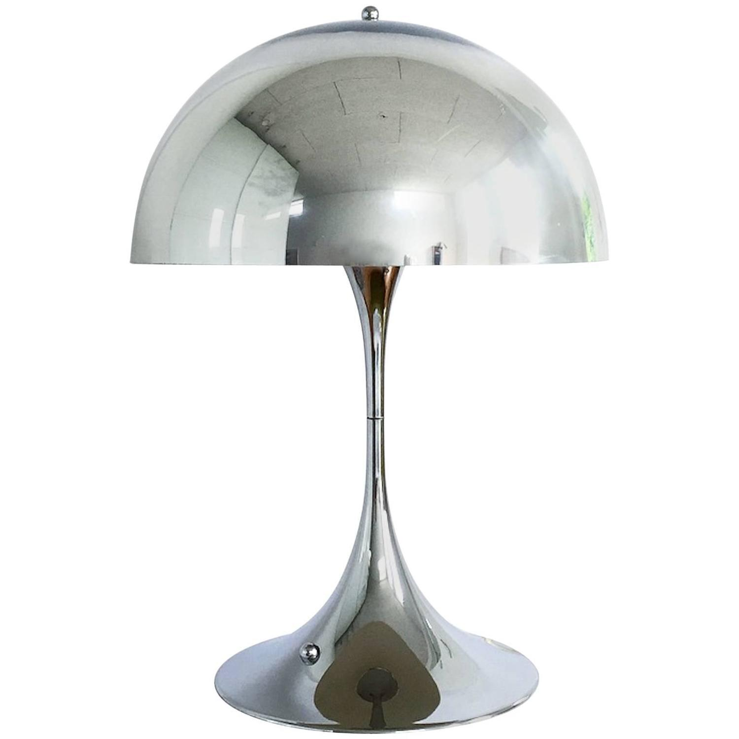 Beautiful Rare Chrome Table Lamp Panatella Designed By Verner Panton For Louis  Poulsen At 1stdibs