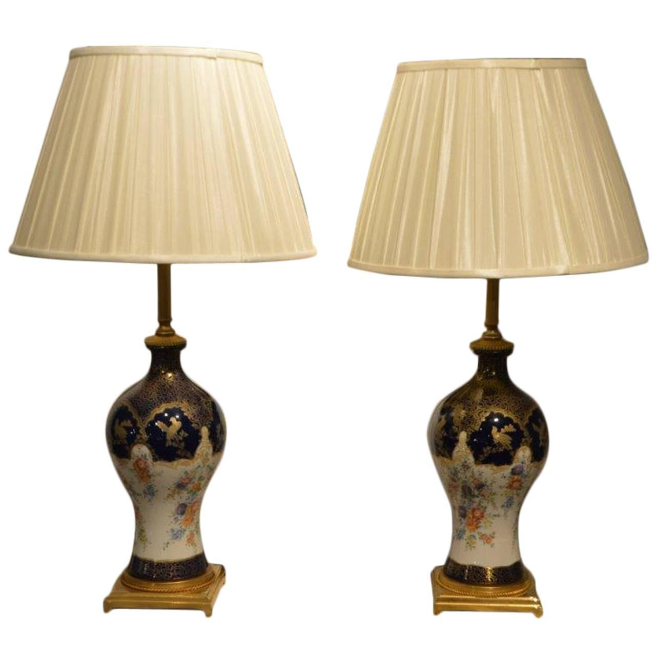 High Quality Pair Of Sevres Style French Porcelain Lamps