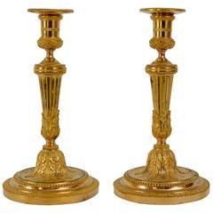 Pair of Louis XVI Gilt Bronze Candlesticks